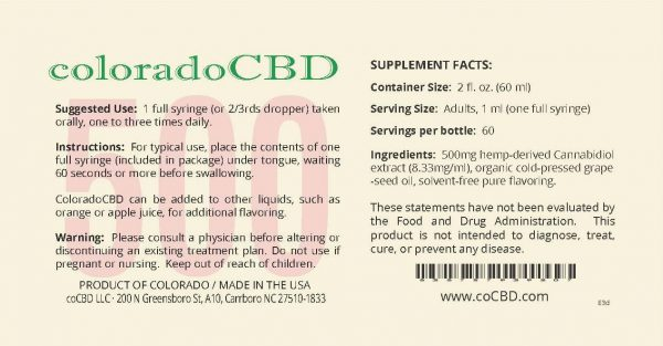 CBD oil 500mg label