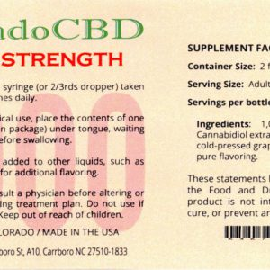 Photo of label for CBD oil 1g