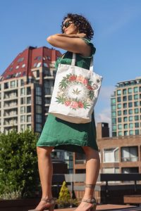 lady walking with tote bag