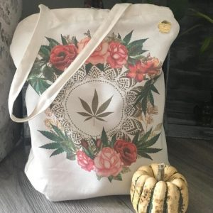 rose tote with items in it