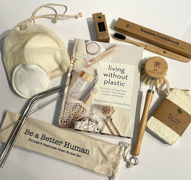 Assortment of non-plastic products, including a book called Living Without Plastics